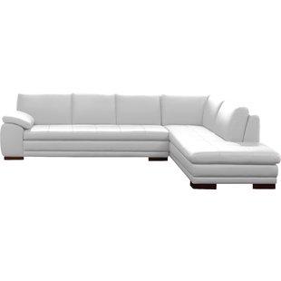 Cream Leather Sectional Sofa | Wayfair