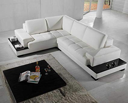 Amazon.com: Vig Furniture T71 Modern Leather Sectional: Kitchen & Dining
