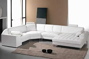 Amazon.com: Vig Furniture Monaco White Leather Sectional Sofa #2236