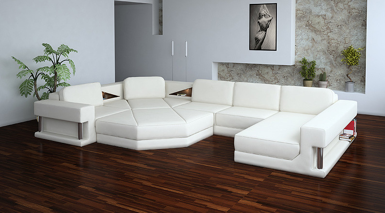 2315 Modern White Leather Sectional Sofa