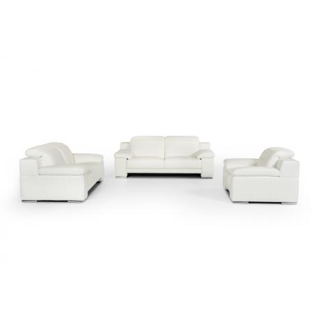 Estro Salotti Evergreen Modern White Leather Sofa Set - Jubilee