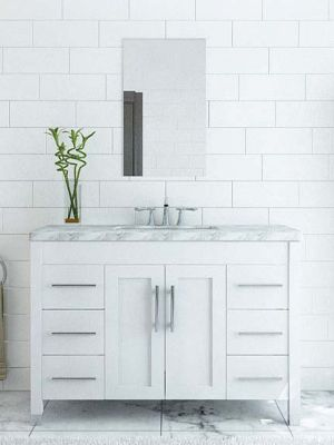 White Vanity Cabinets for a Pristine Bathroom