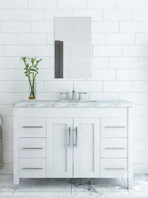 White Vanity Cabinets for a Pristine Bathroom