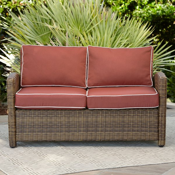 Birch Lane™ Heritage Lawson Wicker Loveseat with Cushions & Reviews