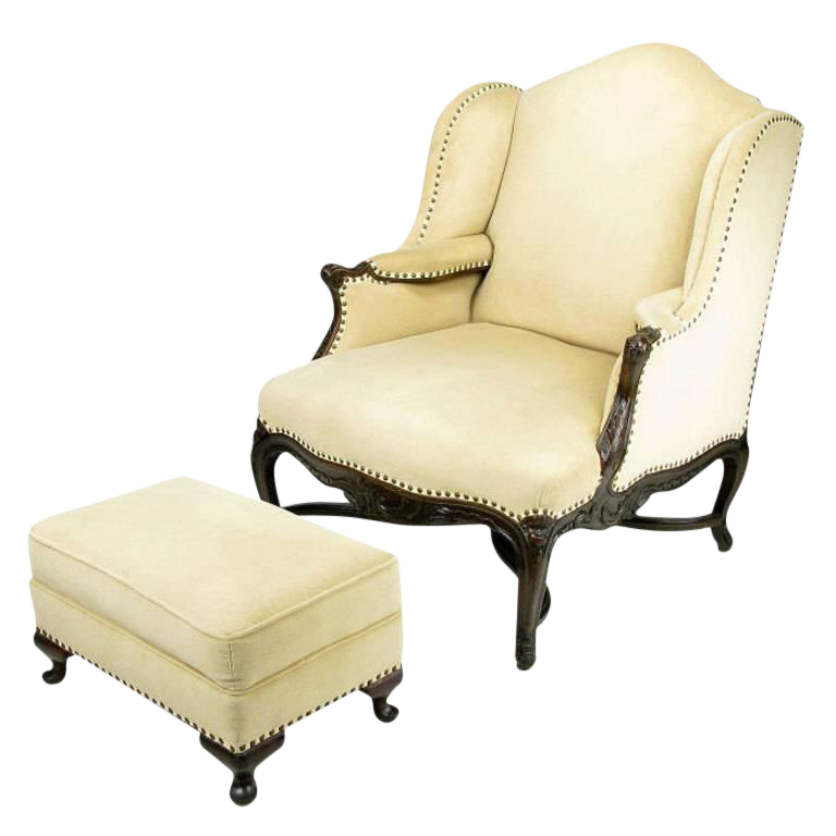 Luxury 1940s Regence Wingback Chair an Ottoman in Camel Velvet | DECASO