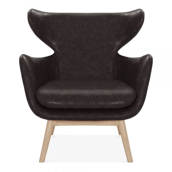 Scandi winged armchair Faux Leather Brown - Office Reality