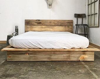Wood bed frame | Etsy