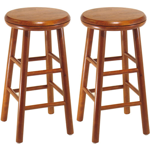 Winsome Wood Tabby 30u201d Beveled Seat Stools, 2-PC, Multiple Finishes
