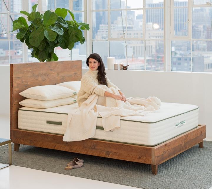 Reclaimed Natural Wood Bed Frame   Avocado Green Mattress®