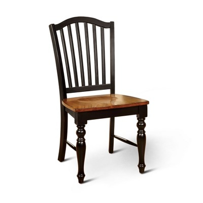 Sun & Pine Country Style Wooden Chair Wood/Black/Antique Oak (Set Of