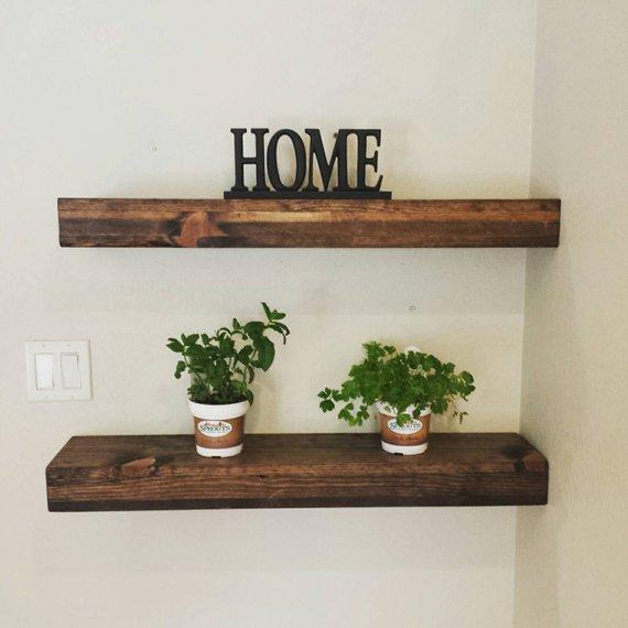 Rustic Reclaimed Wood Floating Shelves/Mantel/ Wall Shelf/   Etsy