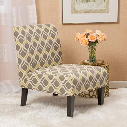 Amazon.com - Kalee Yellow and Grey Print Fabric Dining Chair - Chairs