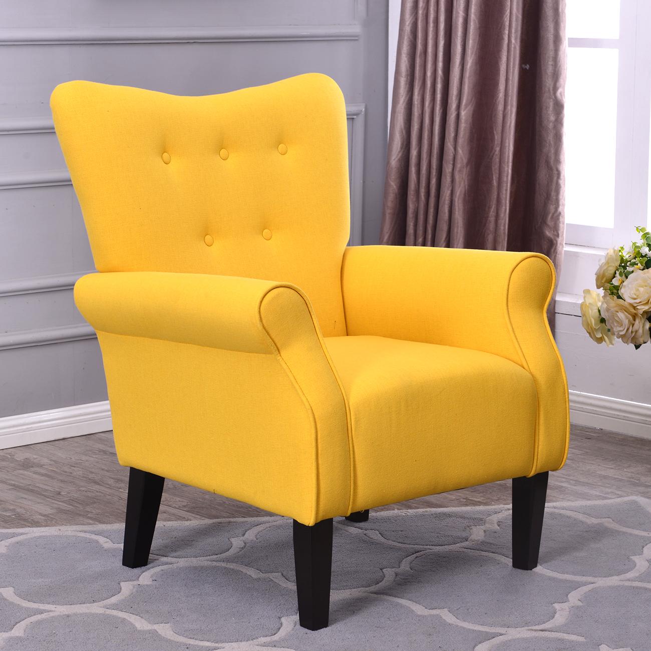 Belleze Modern Accent Chair Roll Arm Linen Living Room Bedroom Wood