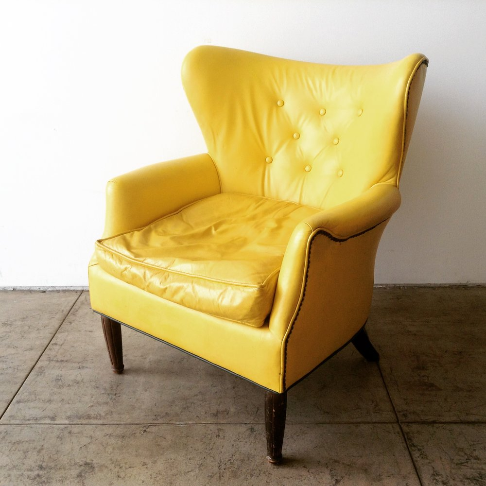 Early Vintage Yellow Leather Club Chair u2014 grain
