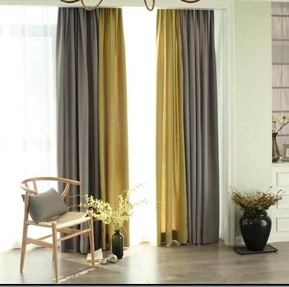 Linen Gray And Yellow Curtains Drapes Living Room