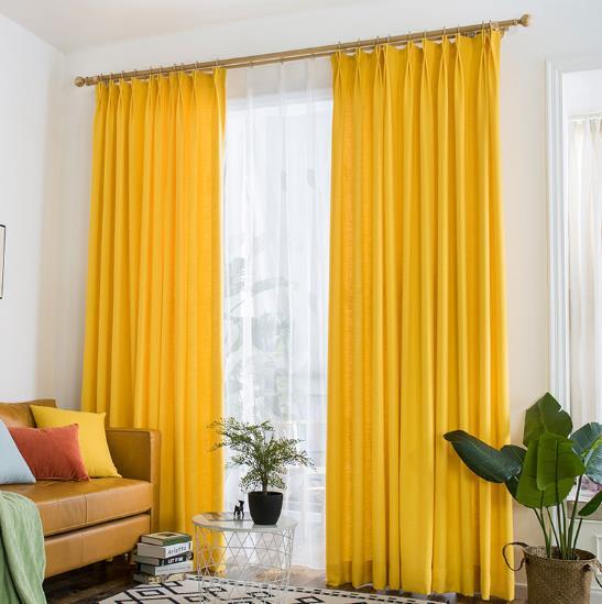 Vibrant Lemon Yellow Curtains Polyeaster Cotton
