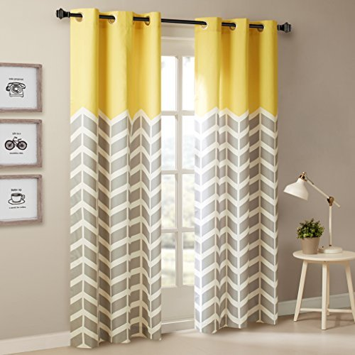 Intelligent Design Yellow Curtains for Living Room, Modern