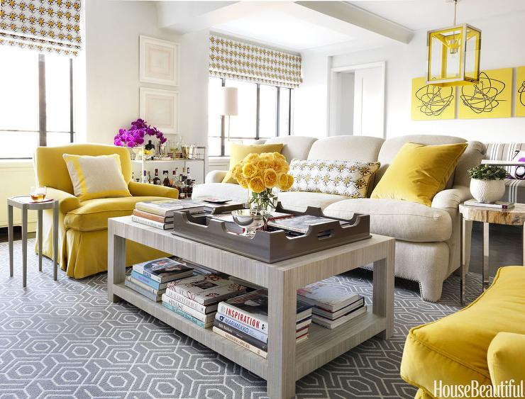 Contemporary Yellow and Gray Living Room - Contemporary - Living