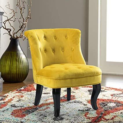 Amazon.com: Yellow Upholstered Chair | Jane Tufted Velvet Armless
