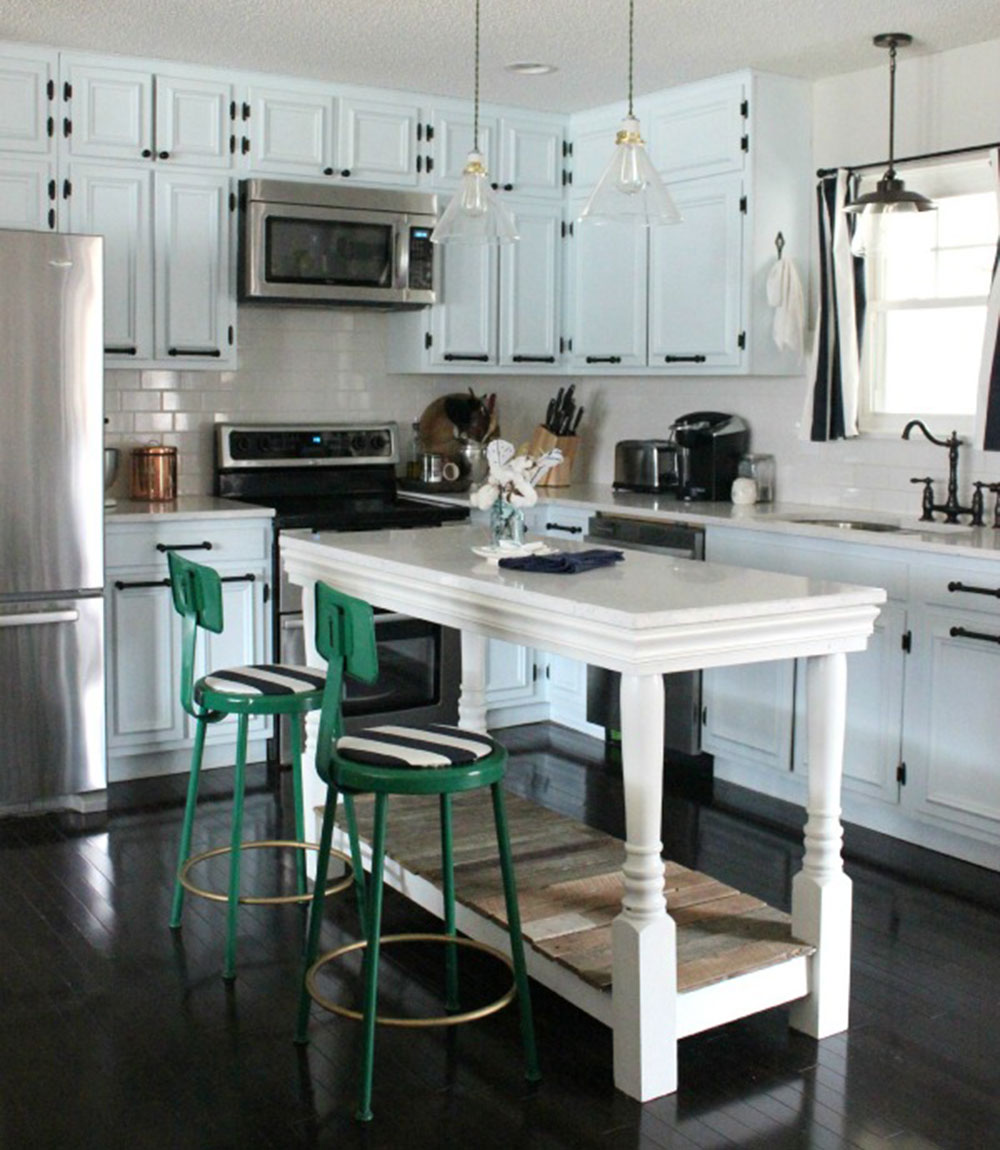 Compact-Woodwork-Kitchen-Island-Table How to build a kitchen island (17 DIY kitchen island plans)