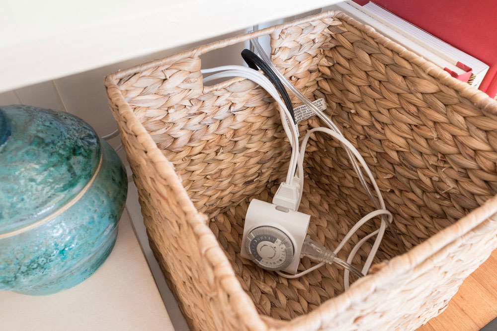 Basket How to hide power cords in the living room (quick tips)