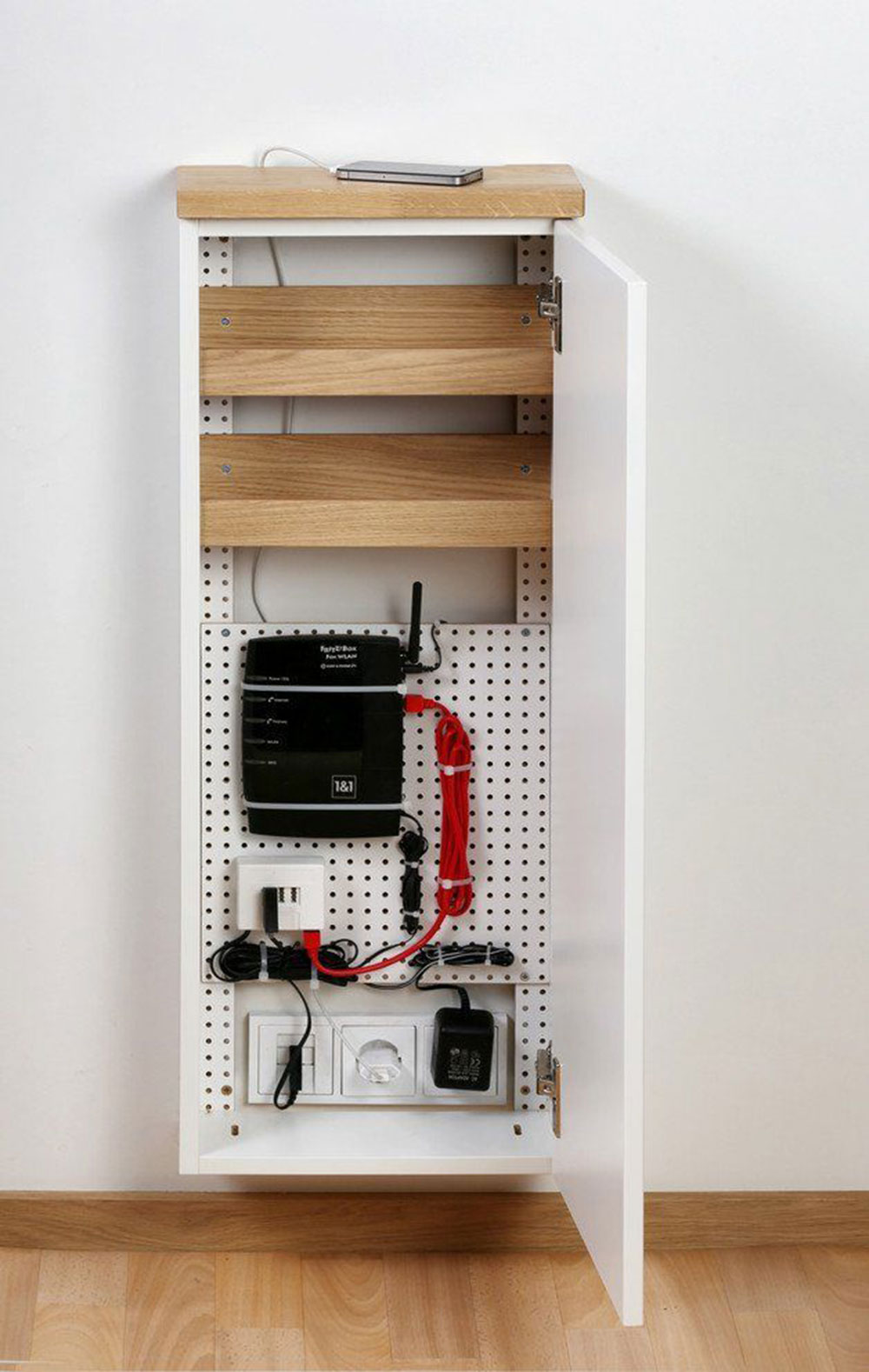 Cupboard How to hide power cables in the living room (quick tips)