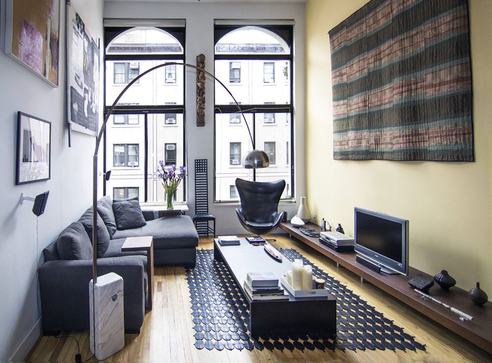 Greenwich-Village-Loft-Living-Room-by-Kimberly-Peck-Architect How to put a carpet in a living room so that the place looks fantastic