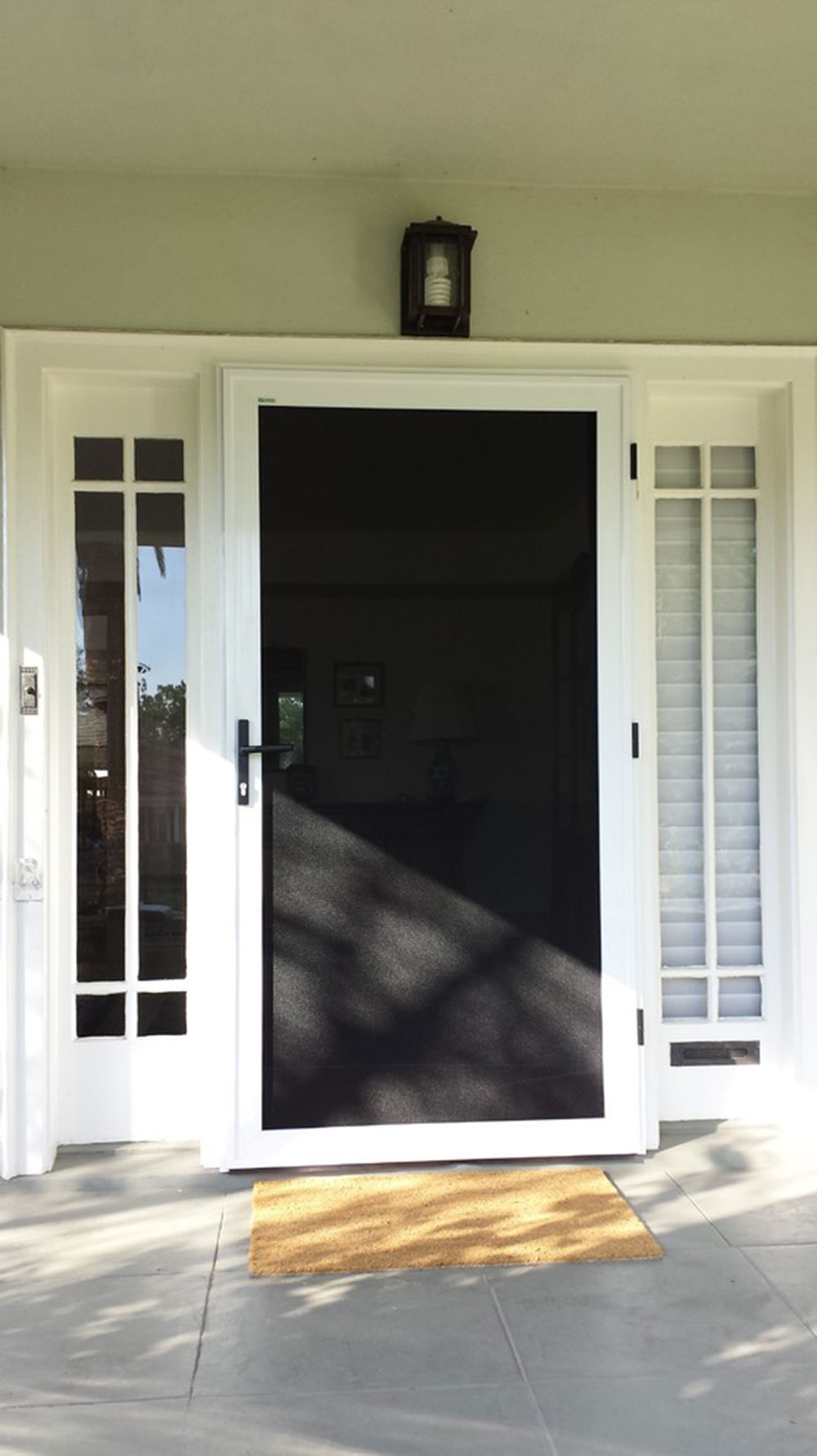 Front-hinged security screen door -–- Pasadena-by-California security screens How to improve the security of your front door without spending a fortune