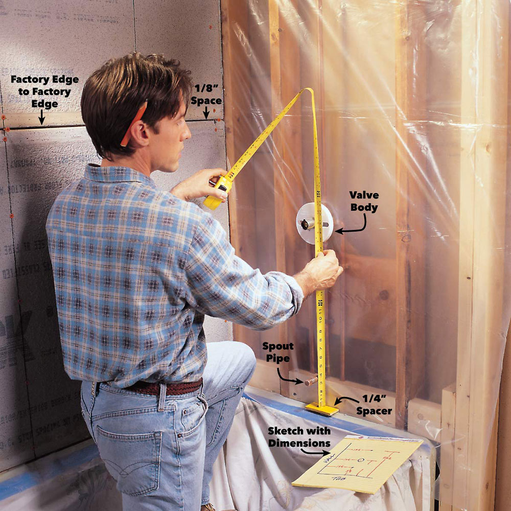 Measure How to prepare shower walls for tiles (easy-to-follow instructions)