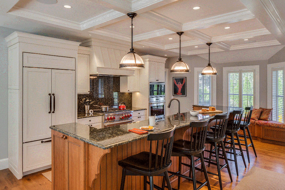 Eclectic Island Home by Classic Kitchen Interiors What is the standard worktop overhang?  (Replied)
