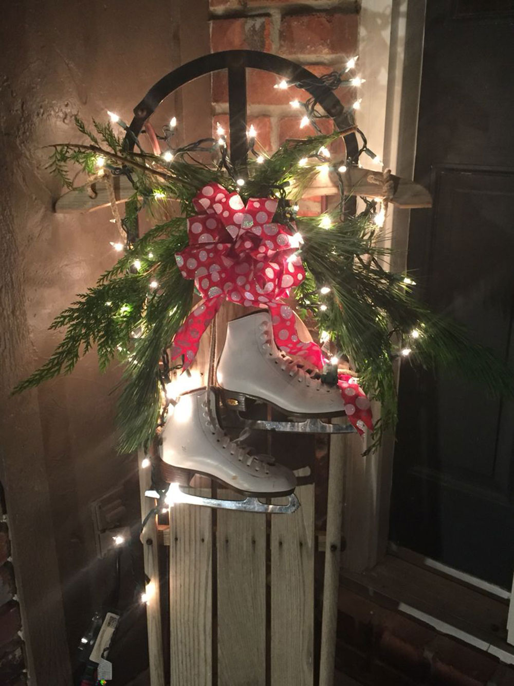 Vintage sled to use outdoor Christmas lights ideas for decorating your home