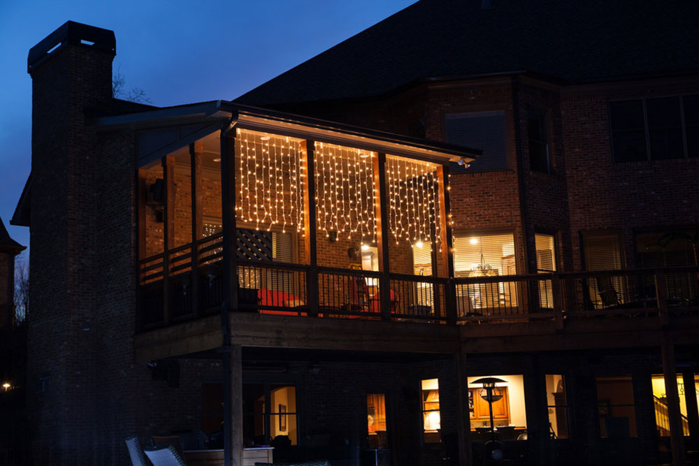 Transform your top deck with curtain lights with Christmas lights, etc. Fantastic deck lighting ideas that you can use in your home