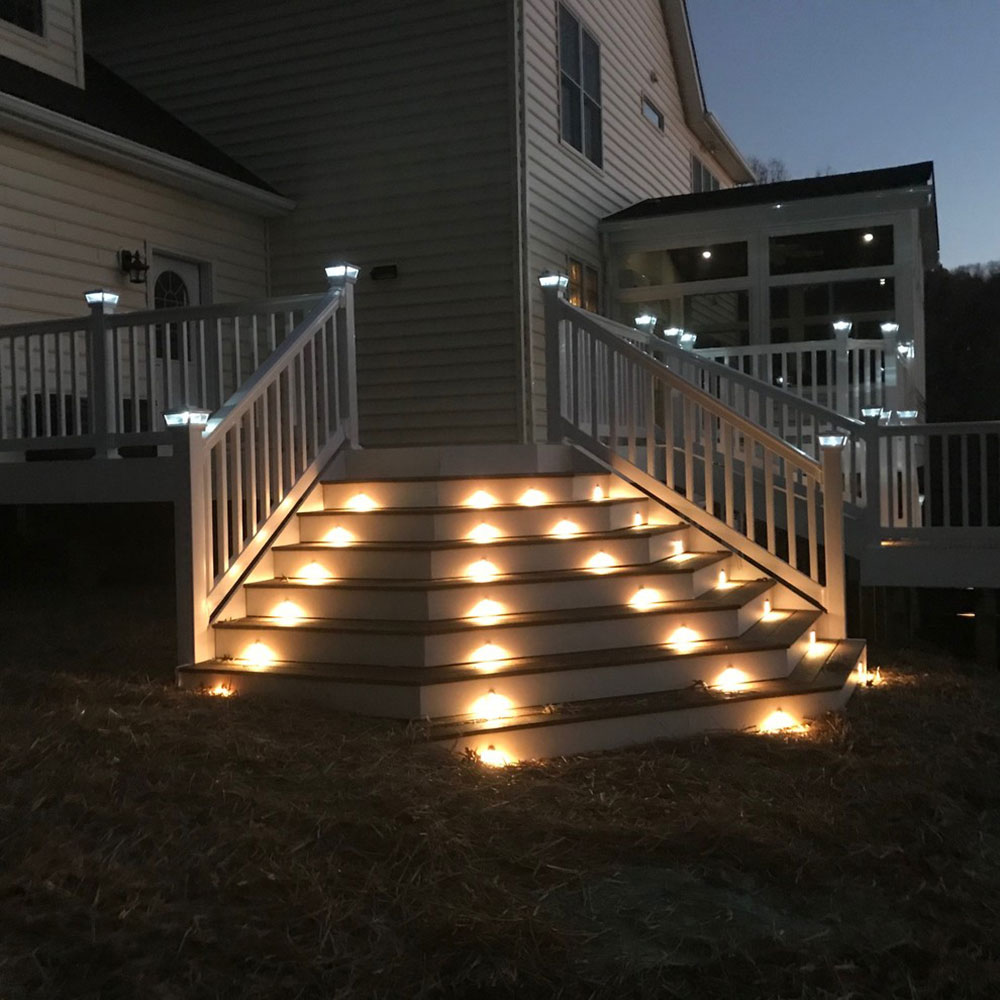 Custom Deck-Vinyl-Railing-Solar-Post-Caps-and-Stair-Lights-by-Miracle-Contractors-LLC Fantastic ideas for deck lighting that you can use in your home