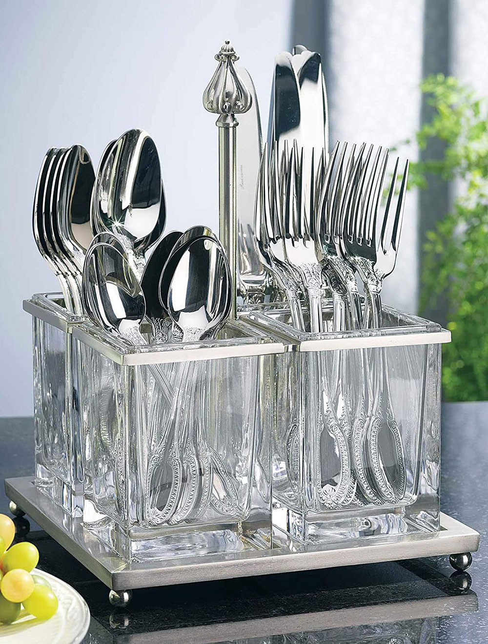 Nickel-and-glass cutlery caddy What is the best kitchen utensil holder out there?