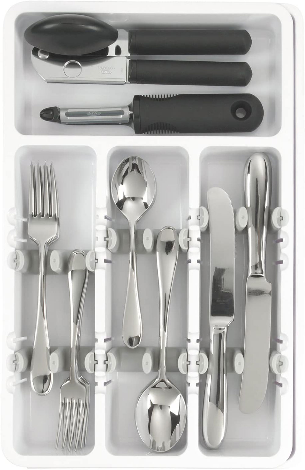 OXO-Good-Grips-Expandable-Utensil-Organizer-White-A-Classic-Organizer What is the best kitchen utensil holder out there?