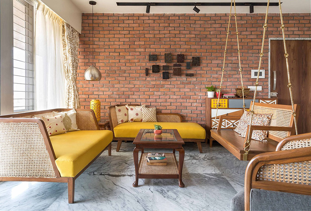 3-BHK-in-Pune-by-Hipcouch Why it is not bad to decorate a living room without a sofa