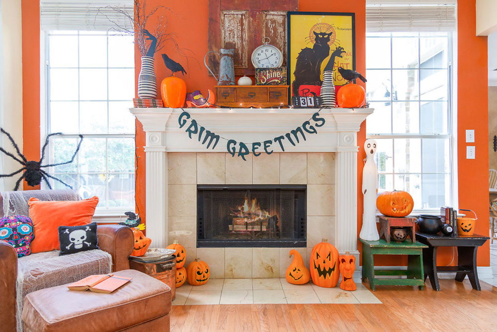 Vintage Halloween house-by-home star staging How to decorate a fireplace mantel (neat decorating ideas)