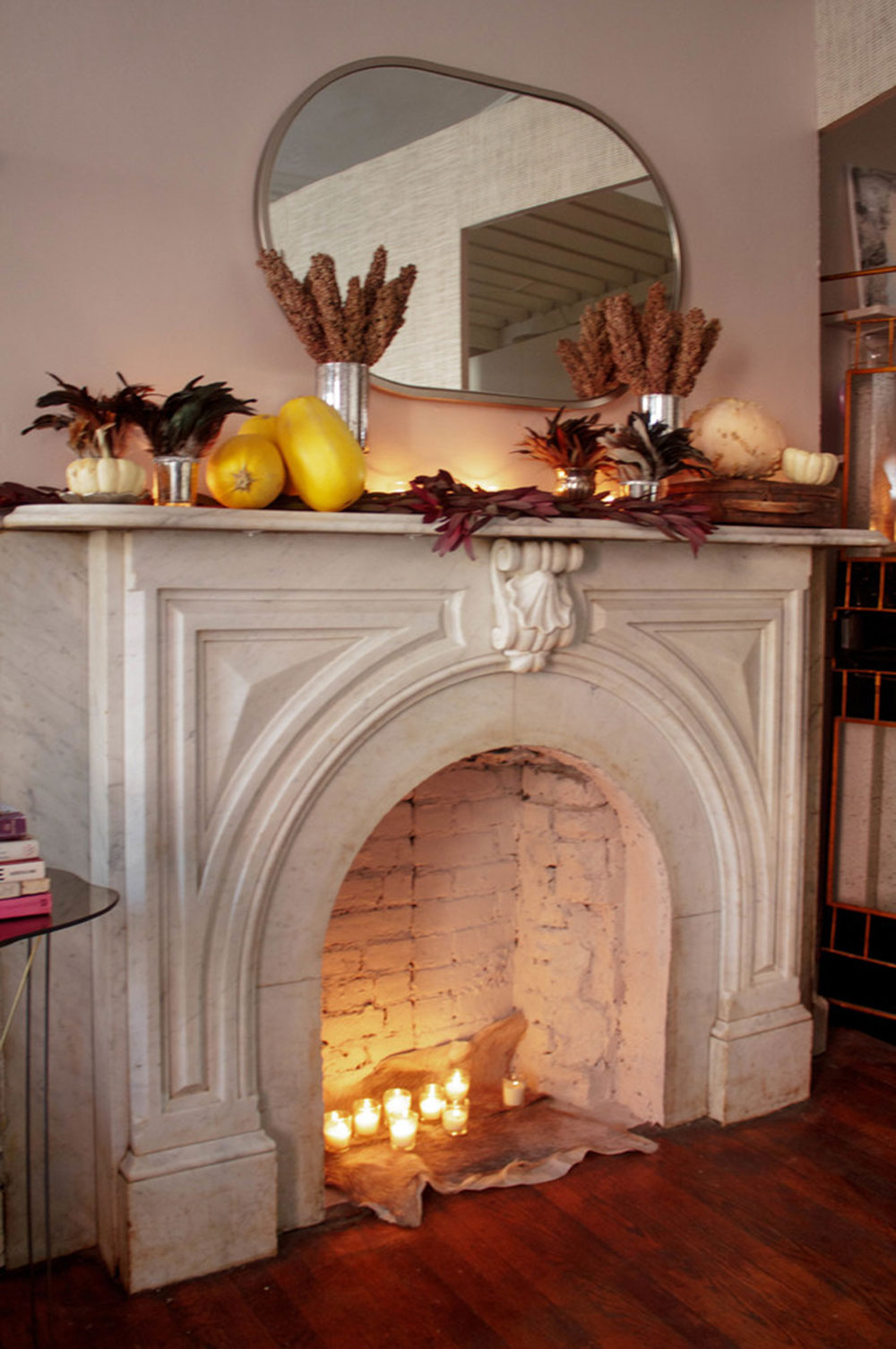 A-Brooklyn-Coat-Celebrates-Harvest-for-Thanksgiving-by-Sarah-Seung-McFarland How to Decorate a Fireplace Cladding (Neat Decoration Ideas)