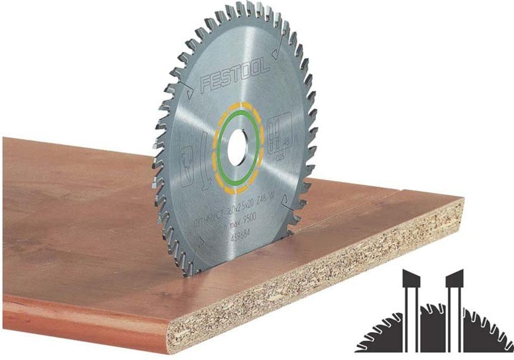 Festool-496309-Laminat-48-Zahnsägeblatt How do I cut laminate worktops and which circular saw blade should I use?