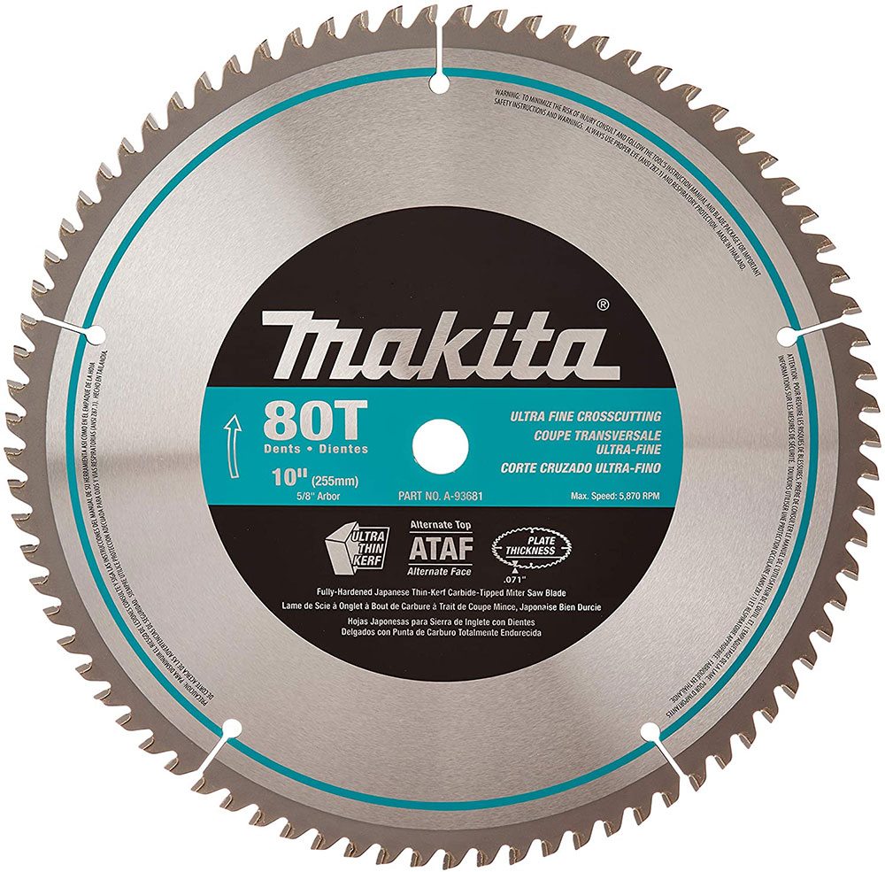 Makita-A-93681-10-inch-80-tooth How do I cut a laminate board and which circular saw blade should I use?