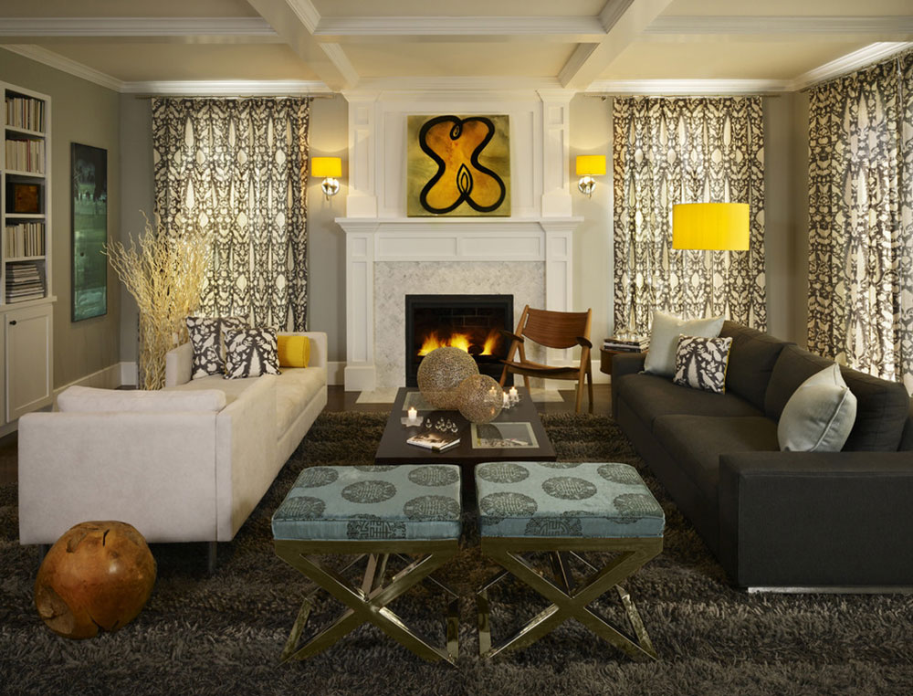 Gray-with-splashes-of-lemon-yellow-make-this-family-room-comfortable-and-warm-by-Andrea-Schumacher-Interiors How to make soundproof thin apartment walls (quick guide)