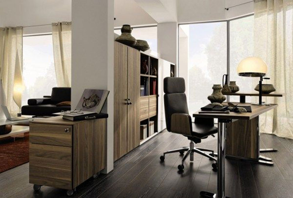 Elegant home office clad in brown wood surface Modern home office ideas with which you can create your perfect space