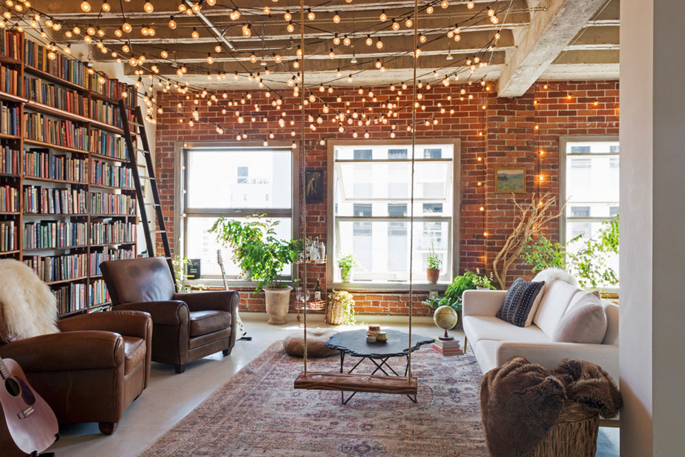 My-Houzz-Books-and-String-Lights-Jazz-Up-at-LA-Loft-by-Carolyn-Reyes How to illuminate a living room without ceiling lighting