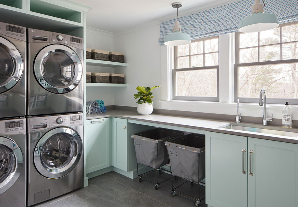 Painted-Laundry-Room-by-BandG-Cabinet-LLC How do I organize a washroom?  Some storage ideas