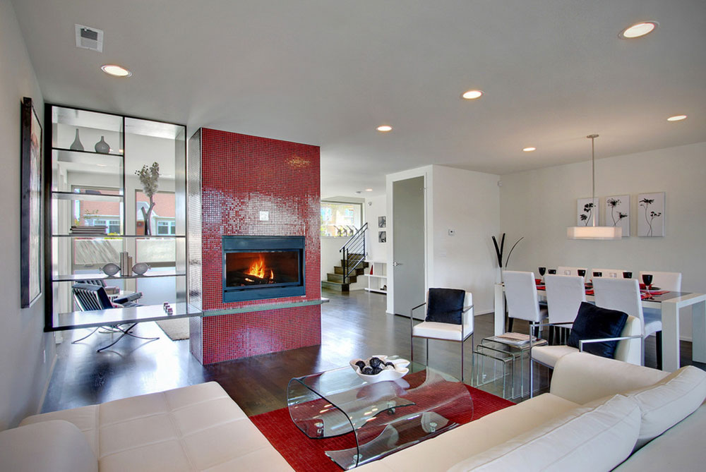 Modwalls-Brio-Mosaic-Glass-Clear-Red-Tile-Installation-of-Modwalls-Tile How to redesign a fireplace to look fantastic