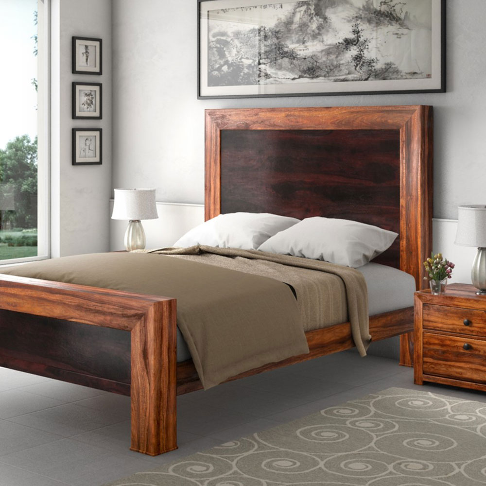 Texas Solid Wood-Paneled Platform Bed Frame-w-Headboard-and-Side-Table-from-Sierra-Living-Concepts Are Platform Beds Comfortable?  Why should you buy one