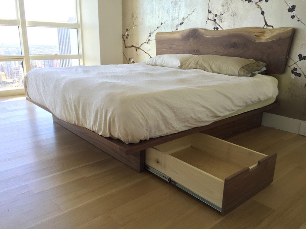 Natural-Edge-Walnut-Storage-Platform-Bed-by-Appalachian-Joinery Are platform beds comfortable?  Why should you buy one