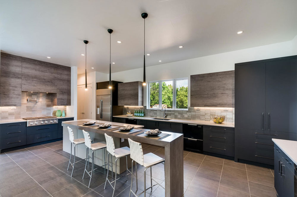Custom-HomeObservatory-Park-Denver-by-Shadow-Creek-Homes Decoration ideas for a kitchen with breakfast bar