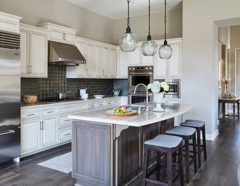 New-Construction-Design-and-Build-by-Austin-Design Decorating ideas for a kitchen with a breakfast bar