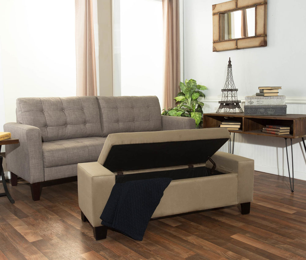 Crawford-n-Burke-Wallace-Storage-Bench-by-Crawford-n-Burke How to decorate a living room without a coffee table